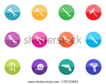 Hand tools icon series in color circles.  - stock vector