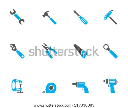 Hand tools icon series in duo tone color style - stock vector