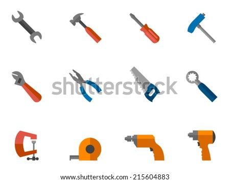 Hand tools icon series in flat colors style. - stock vector