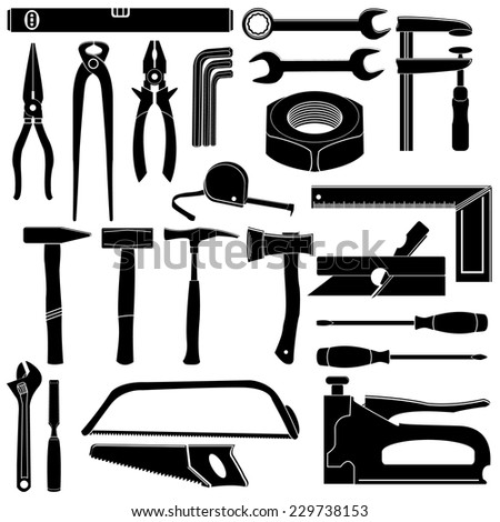 Hand tools icons set - stock vector