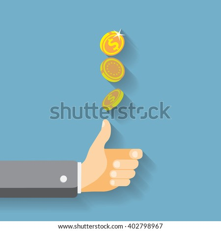 Hand tossing a coin - stock vector