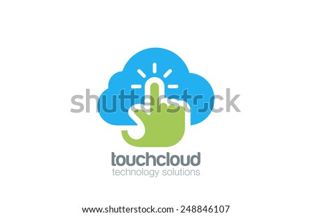 Hand Touch Cloud computing Logo design vector template. Digital Web Technology Storage Logotype concept icon. - stock vector