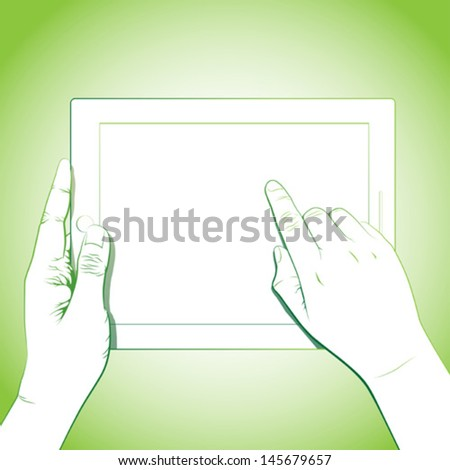 Hand touch gesture, on horizontal 10 inch tablet - stock vector