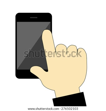 Hand  Touch on Black Smartphone isolated on white background - stock vector