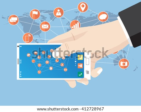 Hand touch on mobile phone network icon for network solution worldwide, Vector Illustration EPS 10. - stock vector
