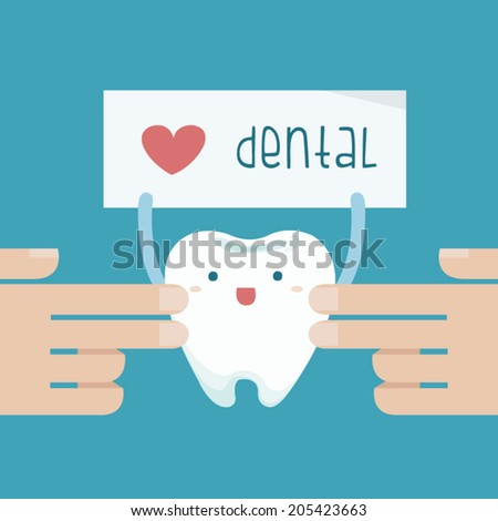 Hand touch the tooth that show love dental of text - stock vector