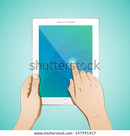 Hand Touching a 10 inch Tablet  - stock vector