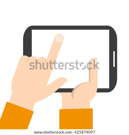 Hand touching blank screen of tablet computer. Eps 10 vector illustration - stock vector