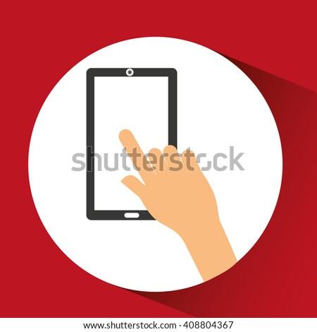 hand touching design  - stock vector