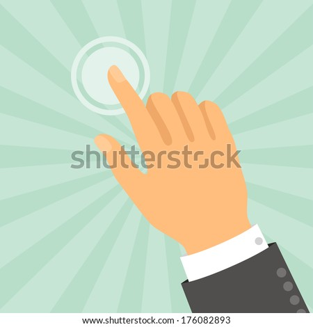 Hand touching finger in flat design style. - stock vector