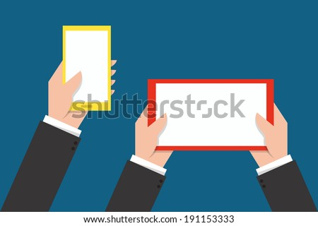 Hand Touching phone and tablet screen - stock vector
