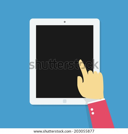 Hand Touching Tablet. - stock vector