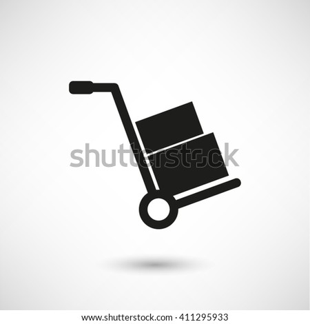 Hand truck - black vector  icon with shadow - stock vector