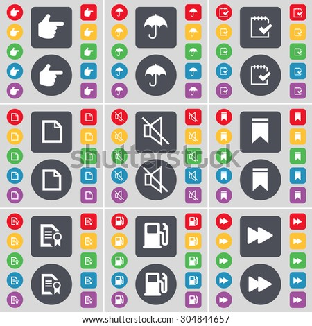 Hand, Umbrella, Survey, File, Mute, Marker, Text file, Gas station, Rewind icon symbol. A large set of flat, colored buttons for your design. Vector illustration - stock vector
