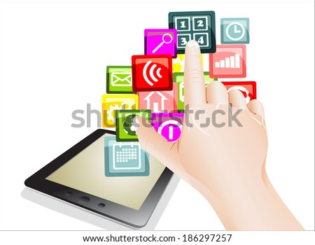 hand use touchscreen tablet pc with colorful application icons, isolated on white background - stock vector