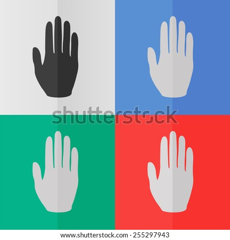 Hand vector icon. Effect of folded paper. Colored (red, blue, green) illustrations. Flat design - stock vector