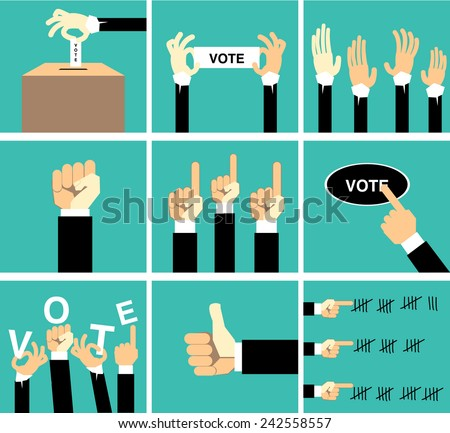 hand vote vector set - stock vector