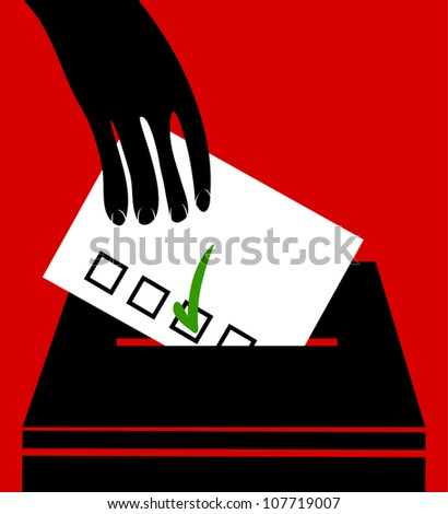 hand voting with green arrow mark in a balloting - stock vector