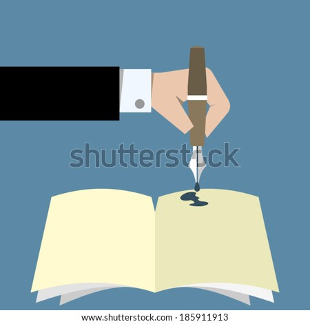Hand want to signature a book - vector illustration - stock vector