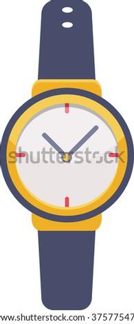 hand watch in flat design - stock vector