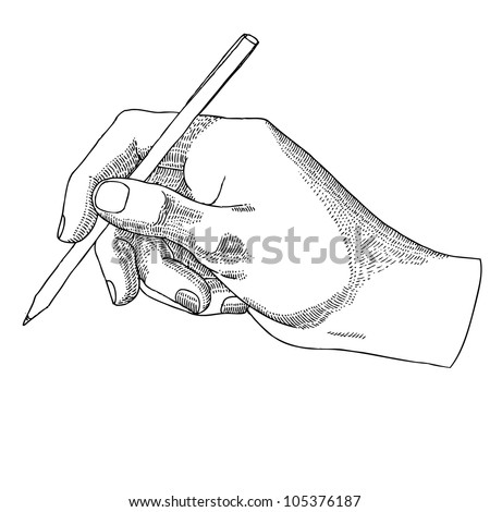 Hand with a pen - stock vector