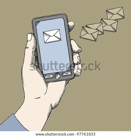 Hand with a phone - stock vector