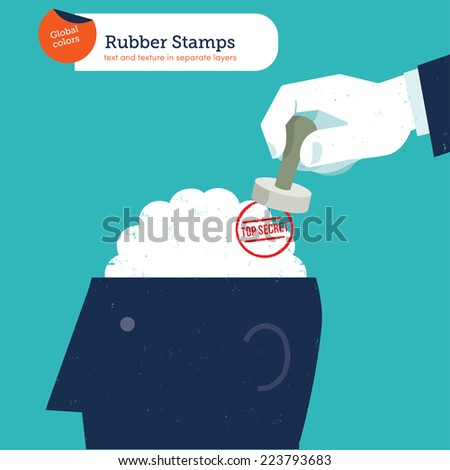 Hand with a stamp top secret. Vector illustration Eps10 file. Global colors. Text and Texture in separate layers. - stock vector