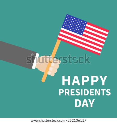Hand with american flag Presidents Day background flat design Card Vector illustration - stock vector