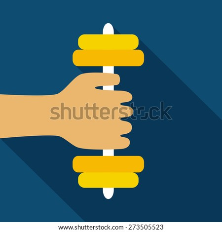 Hand with barbell. Flat style. Vector illustration - stock vector
