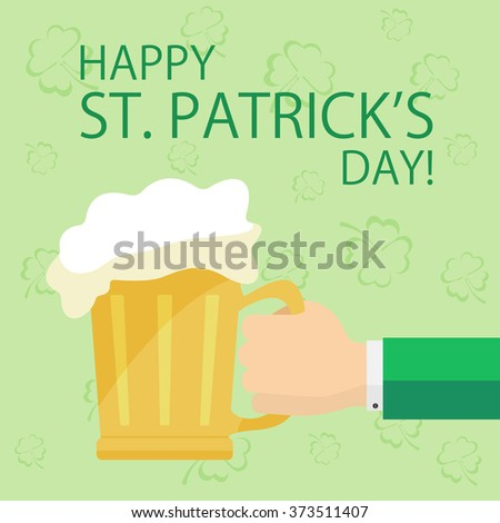 Hand with beer on green St. Patrick's day background with clovers, illustration. - stock vector
