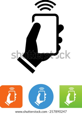 Hand with cell phone beaming a signal. Vector icons for video, mobile apps, Web sites and print projects.  - stock vector