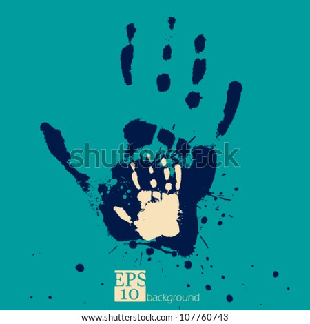 Hand with child hand, concept of people's feelings and help, grunge stylized vector - stock vector