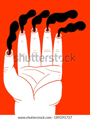 Hand with chimney fingers - stock vector