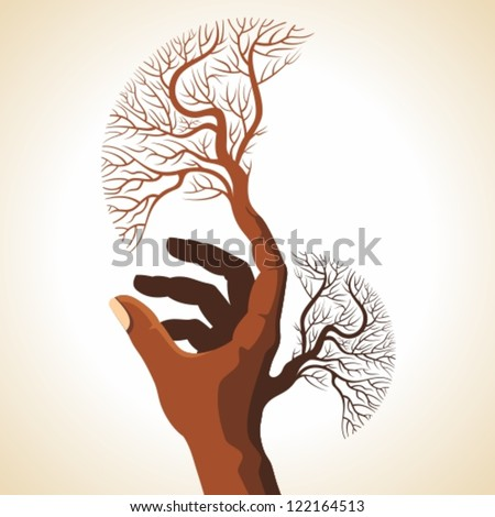 hand with creative tree - stock vector