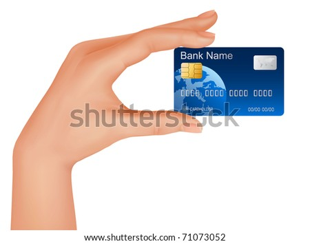Hand with credit card. Business concept. Vector illustration. - stock vector