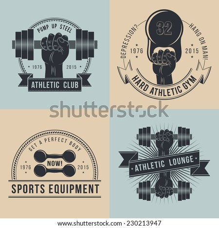 Hand with dumbbells. Logos for sport athletic club. Coat of Arms for the gym or sports shop. In old school style .  - stock vector