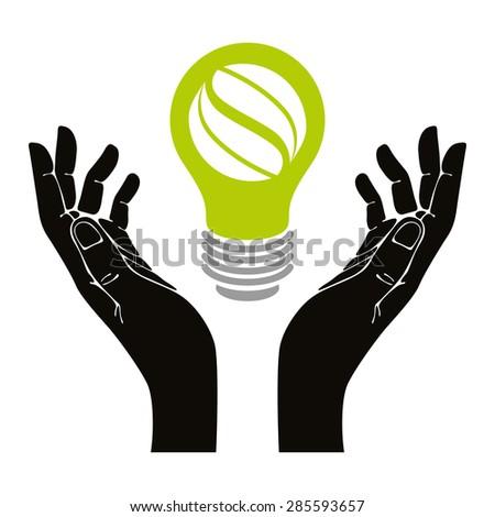 Hand with eco idea bulb vector symbol isolated. - stock vector