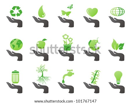 hand with green eco icons - stock vector