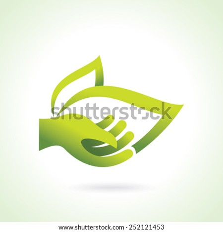 Hand with green leaf over white background - stock vector