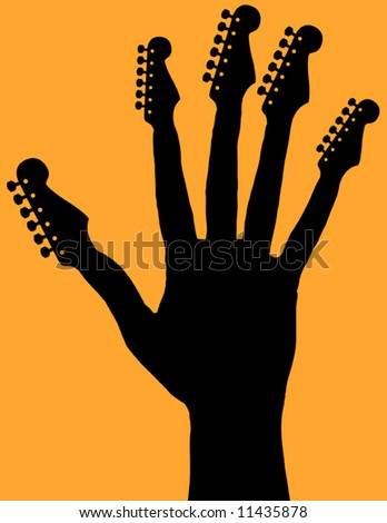 Hand with guitar headstocks - stock vector