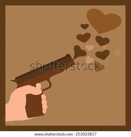 Hand with gun and many hearts retro - stock vector