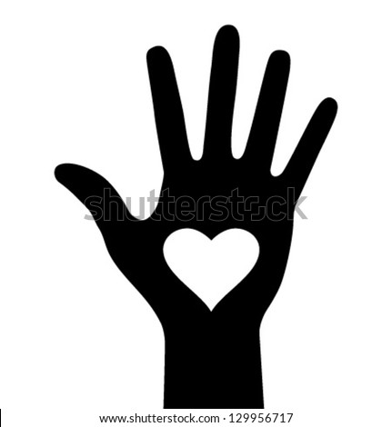 Hand with heart icon, vector logo illustration  - stock vector
