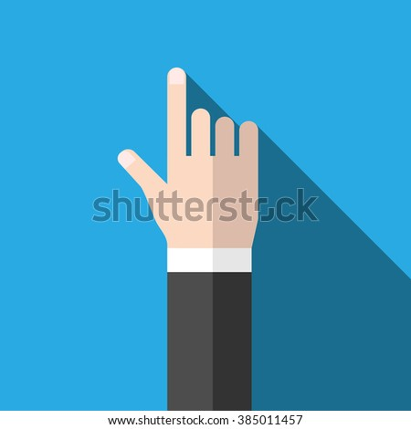 Hand with index finger pointing at something. Flat design icon with long shadow on blue background. EPS 8 vector illustration, no transparency - stock vector
