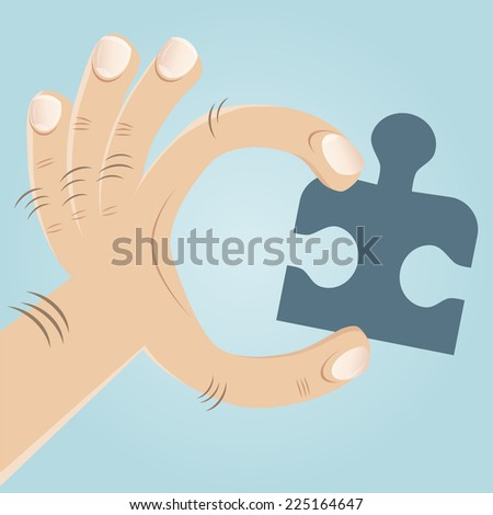 hand with jigsaw puzzle - stock vector