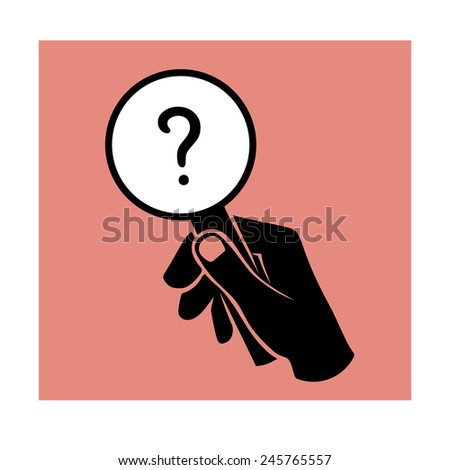 Hand with loupe - stock vector