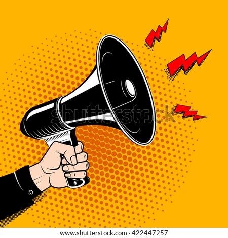 Hand with megaphone in pop art style. Comic style bullhorn. Design element in vector. - stock vector