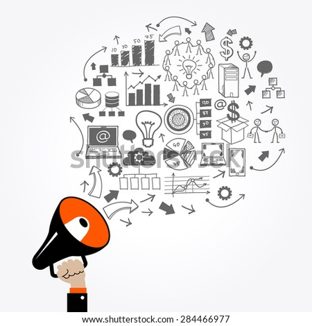 Hand with megaphone, surrounded by doodle business icons. 