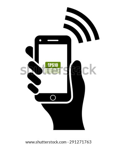 Hand with mobile phone - stock vector