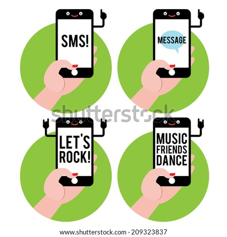 Hand with mobile phone with different text on screen - stock vector