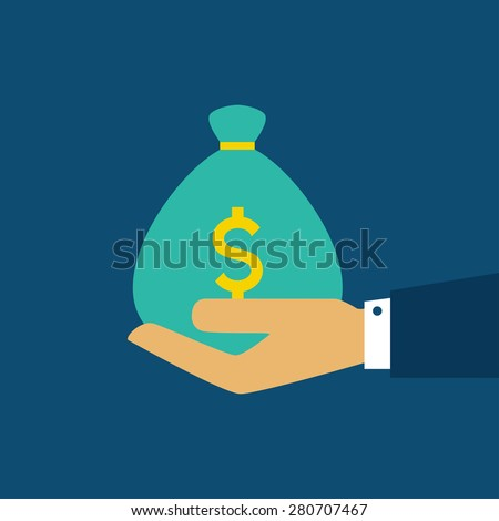 Hand with money bag. Flat style. Vector illustration - stock vector